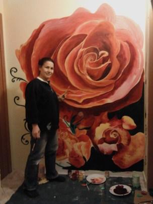mentre dipingo la camera delle Rose