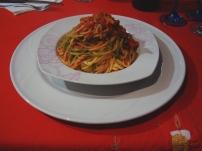 spaghetti alla chitarra tricolore al ragù