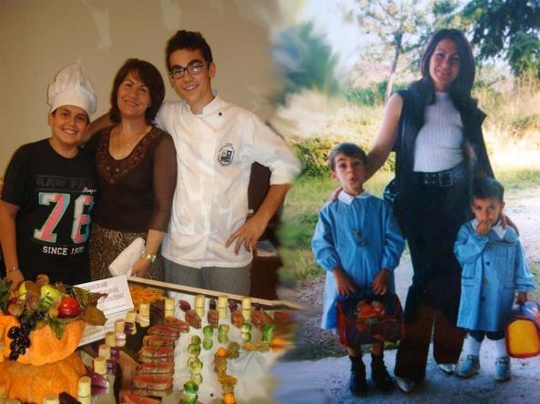 Felice , io e miei figli, loro crescono e io sempre più piccola :)